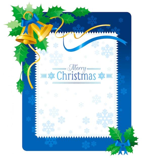 ジングルの鐘とブルーメリークリスマスのグリーティングカード。 Premiumベクター
