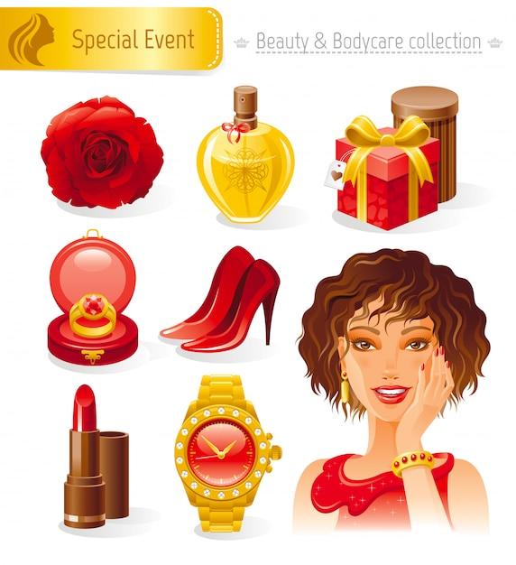Набор косметики и косметики. праздничная романтическая коллекция с красивой гламурной девушкой в красном. Premium векторы