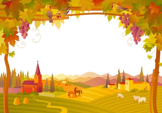 美しい秋の風景。教会、別荘、ブドウ園のある田舎の秋。ベクトルイラスト。 Premiumベクター