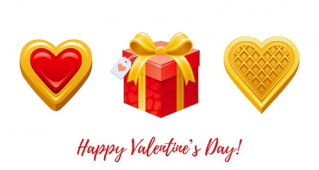 幸せなバレンタインデーのバナー。漫画かわいいハートビスケット、ギフトボックス、ウェーハ。 Premiumベクター
