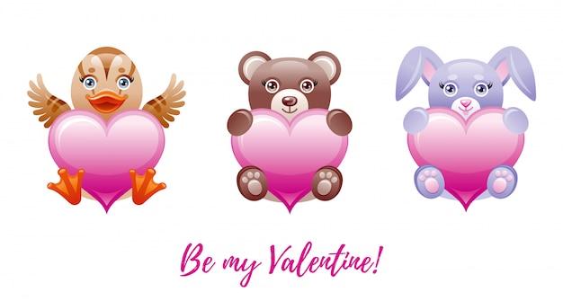 С днем святого валентина баннер. мультфильм милые сердечки с игрушечными животными - утка, медведь, кролик. Premium векторы