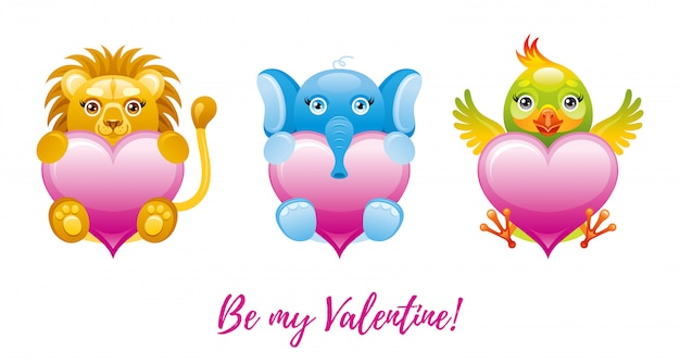 幸せなバレンタインデーのバナー。おもちゃの動物-ライオン、象、オウムと漫画かわいいハート。 Premiumベクター