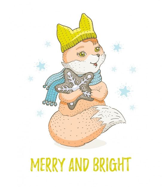 Симпатичные рождественские животные, эскиз лесной лисы. счастливого рождества и нового года мультфильм акварель векторные иллюстрации. Premium векторы