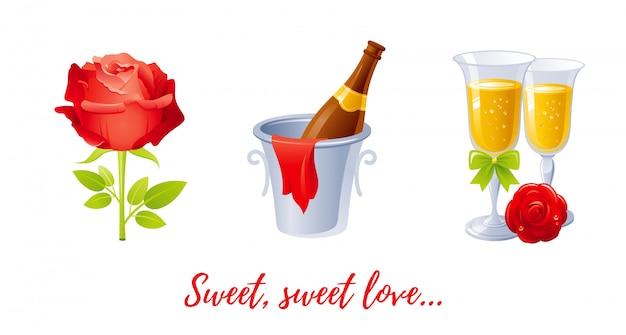 Мультфильм с днем святого валентина с любовью сердца. Premium векторы