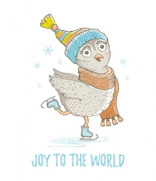 かわいいクリスマスフクロウ、森の鳥をスケッチします。メリークリスマスと新年漫画水彩ベクトルイラスト。 Premiumベクター