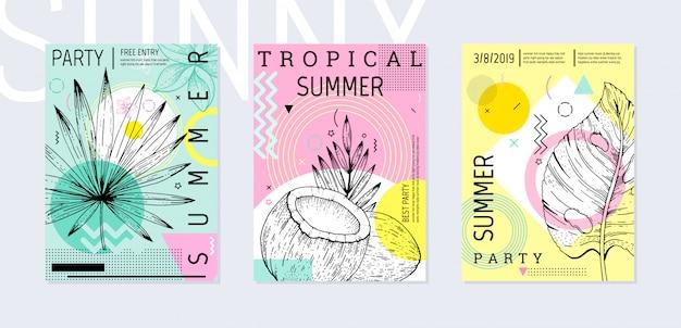 夏のパーティーのポスターは、熱帯のスケッチと幾何学的なメンフィススタイルに設定します。 Premiumベクター