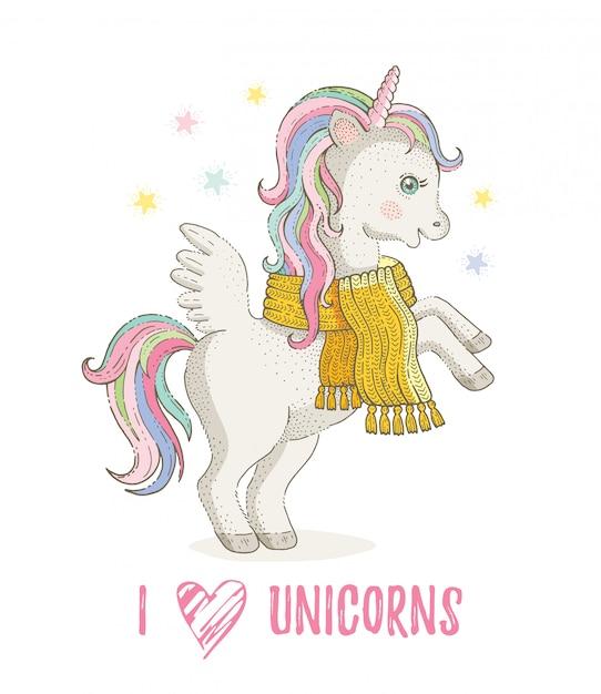 ユニコーンが大好きです。かわいいユニコーンポニー、漫画の馬。冬のスカーフの魔法の動物。分離された手描きの妖精イラスト Premiumベクター