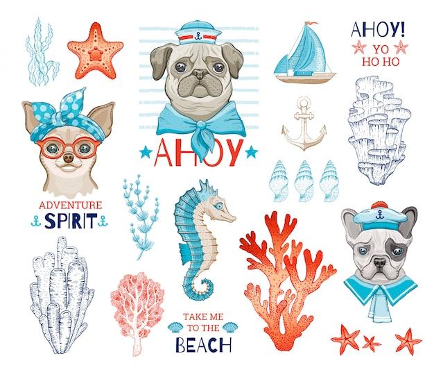 Симпатичные собаки моряки с мультфильма эскиз морской элемент. мопс, чихуахуа, французские бульдоги, веселые щенки. Premium векторы