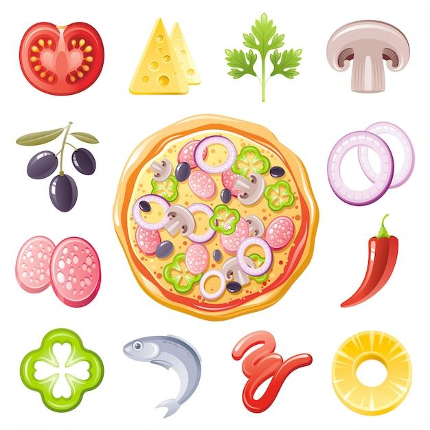 イタリアのピザの食材のアイコンを設定します。フードメニューの図。 Premiumベクター