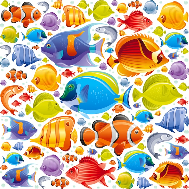 Бесшовные тропических рыб шаблон. иллюстрация морских животных. Premium векторы
