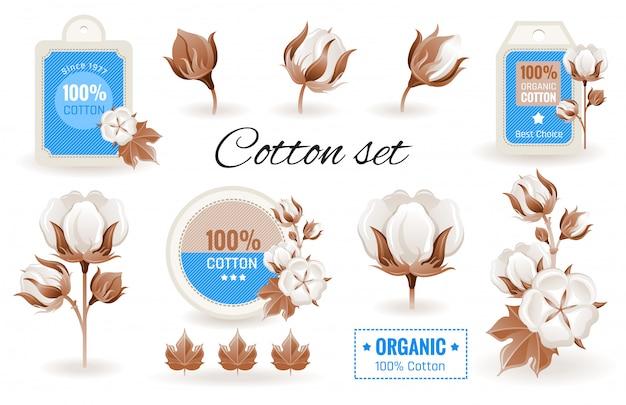 エココットン漫画アイコン。花、枝、ラベルデザイン、ロゴ入りコットン。 Premiumベクター