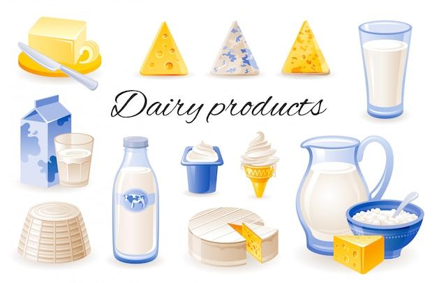 Молоко мультфильм иконки. набор молочных продуктов с сыром чеддер, бри, рикотта, йогурт, масло, баночка. Premium векторы