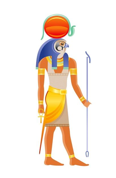 古代エジプトの神ラー。鷹の頭を持つ太陽の神、太陽ディスクコブラ装飾。古いアートスタイルの漫画イラスト。 Premiumベクター