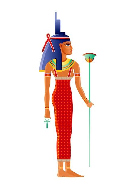 古代エジプトの主要な女神イシス。オシリスの妻、神イシス。古いアートスタイルの漫画イラスト。 Premiumベクター