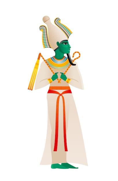 古代エジプトの神。オシリス神、アテフクラウンと緑の肌の死と再生の領主。古いアートスタイルの漫画イラスト。 Premiumベクター