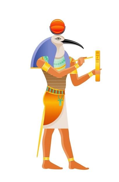 古代エジプトの神トート。イビスの頭を持つ神。古いアートスタイルの漫画イラスト。 Premiumベクター