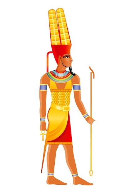 古代エジプトの神アメン、羽飾り付きのシュティクラウンの太陽の主なエジプトの神。古いアートスタイルの漫画イラスト。 Premiumベクター
