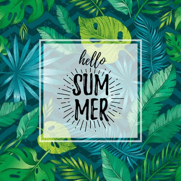 こんにちは夏ポスターまたは熱帯の葉のシームレスなパターンを持つグリーティングカード。手描き落書きチラシ。 Premiumベクター