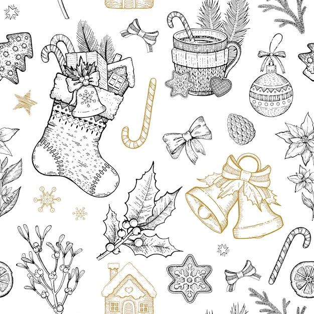 クリスマスオブジェクトのシームレスなパターン。手描きのスケッチの休日の背景。 Premiumベクター