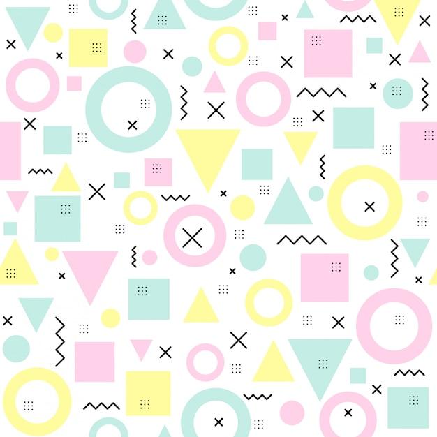 幾何学的図形とのシームレスなメンフィスパターン。 Premiumベクター