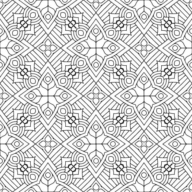 Красивый индийский традиционный бесшовный узор черно-белый Premium векторы