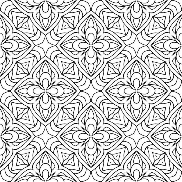 美しいインドの伝統的なシームレスパターン黒と白 Premiumベクター