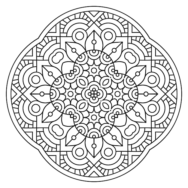 装飾的な幾何学的なタイルの手描きイラスト Premiumベクター