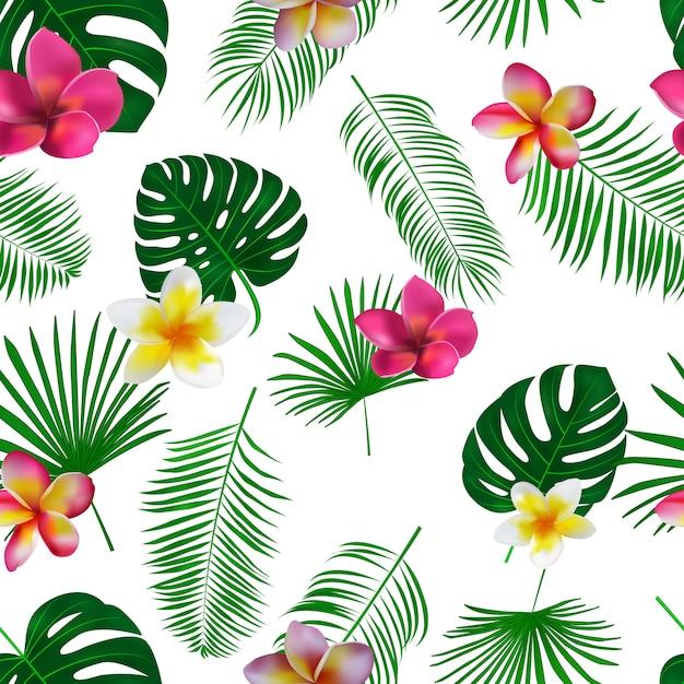 蘭の花と白い背景のエキゾチックなヤシの葉で描かれた熱帯パターンを手します。 Premiumベクター