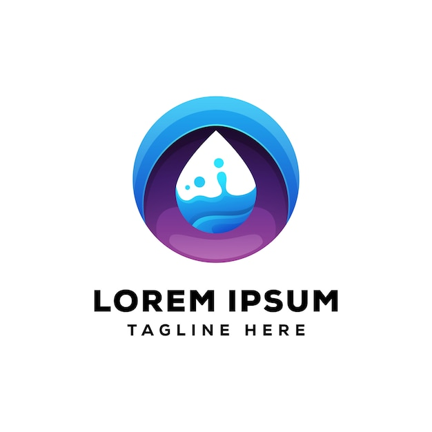 Круг капли воды логотип премиум Premium векторы