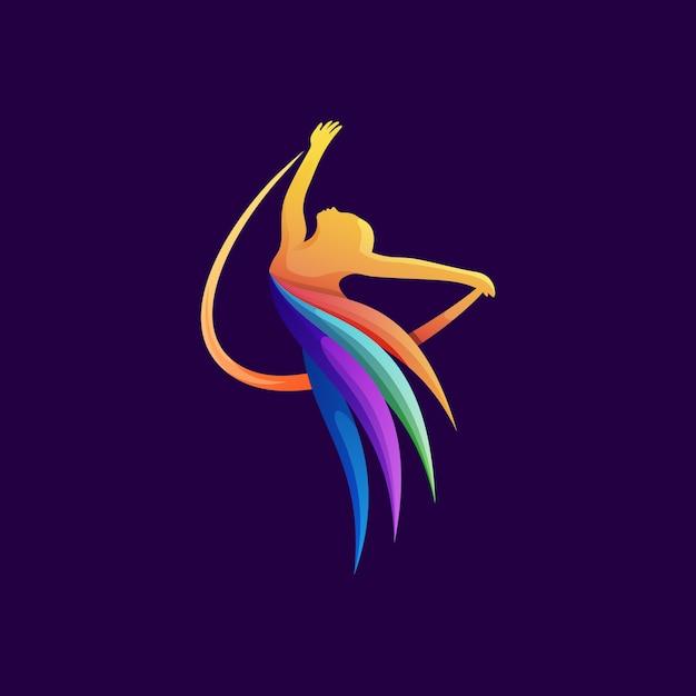 Красочный танцор логотип иллюстрации премиум вектор Premium векторы