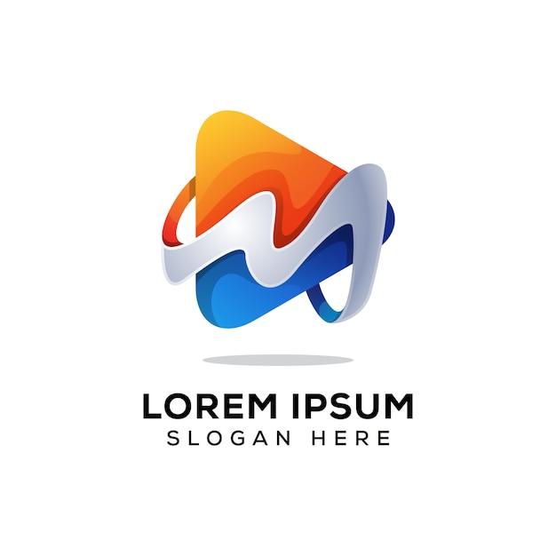 Письмо м медиа логотип вектор Premium векторы