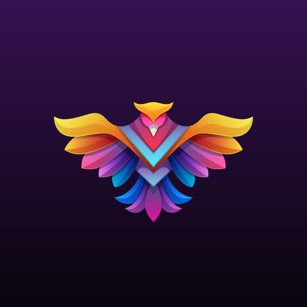 Красочная иллюстрация логотипа феникса Premium векторы
