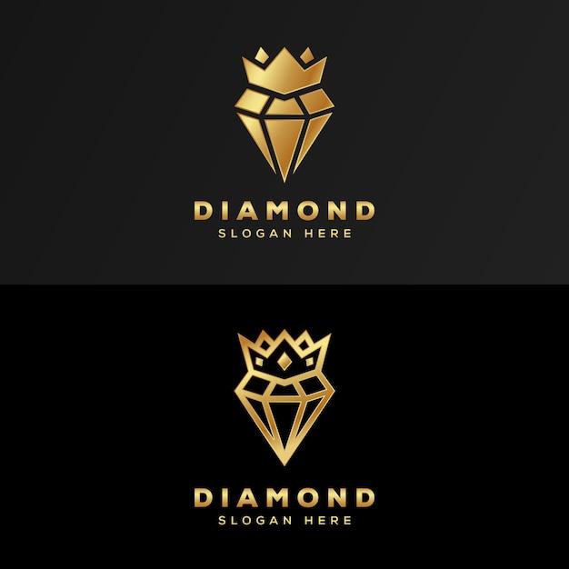 Роскошный королевский бриллиант с логотипом золота премиум-класса Premium векторы