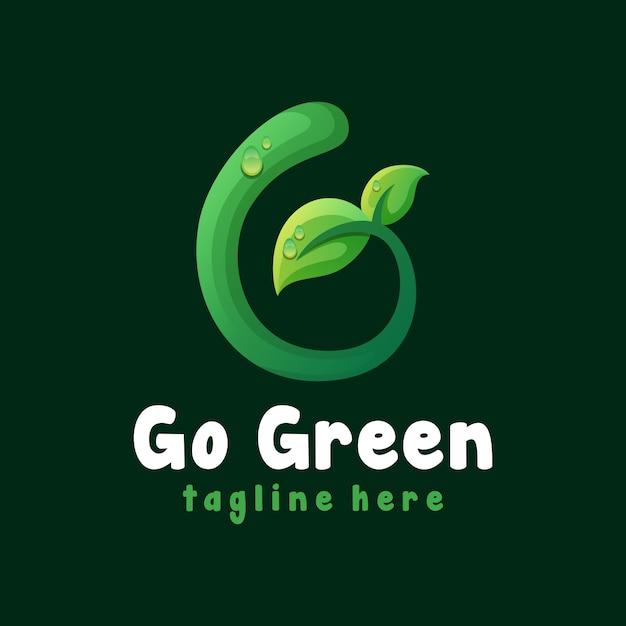 Перейти зеленый шаблон логотипа листа Premium векторы