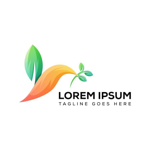 現代の葉の鳥のロゴのベクトル Premiumベクター