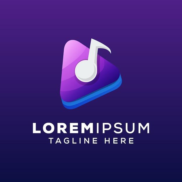 メディア音楽コンセプトのロゴのテンプレート Premiumベクター