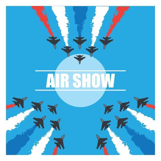 Маневры истребителей в голубом небе для авиашоу. векторные иллюстрации Бесплатные векторы
