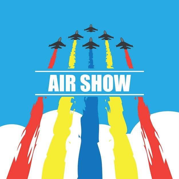 航空ショーのバナーのための青空の戦闘機の操縦ベクトルイラスト