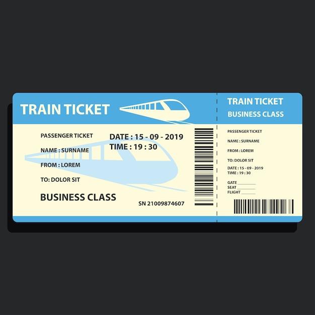 Билет на поезд для поездок на поезде Premium векторы