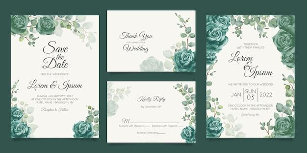 Красивый шаблон свадебного приглашения с цветочной рамкой Premium векторы