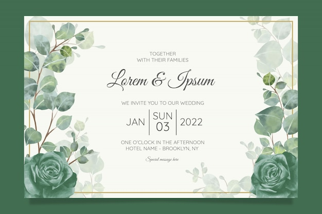 Красивый шаблон свадебного приглашения с геометрической цветочной рамкой Premium векторы
