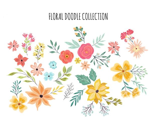 夏の花飾りセット Premiumベクター