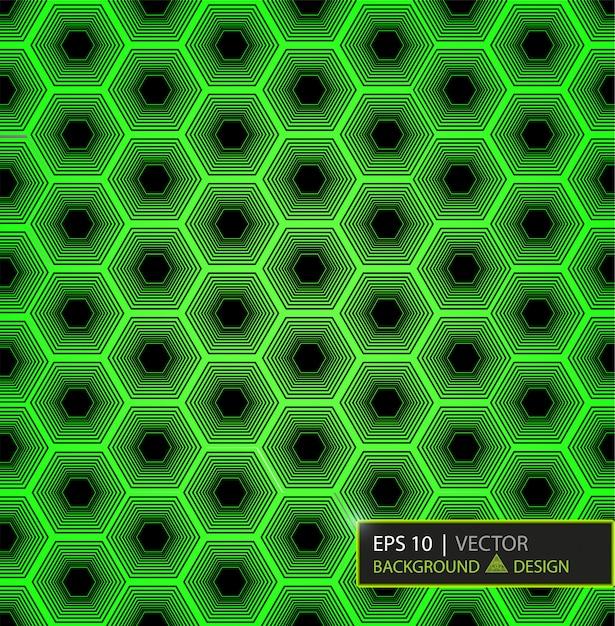 緑の炭素繊維の六角形パターン。背景とテクスチャ。 Premiumベクター