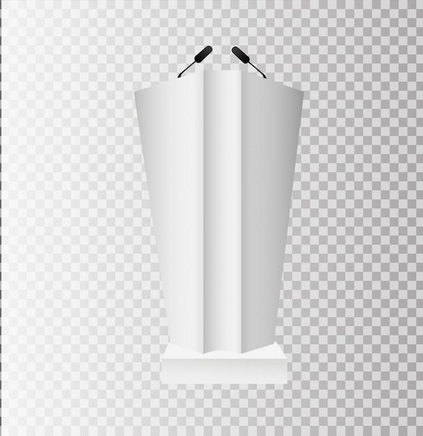 白い表彰台トリビューン演壇に立っている透明な背景にマイク Premiumベクター