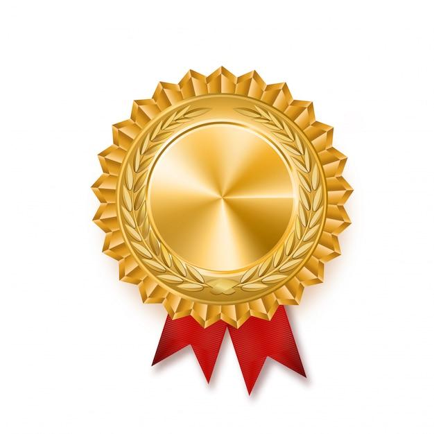 Золотая медаль с красной лентой. металлический победитель премии иллюстрации. Premium векторы