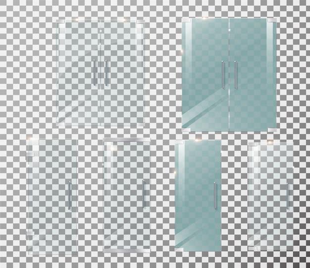 Стеклянная дверь прозрачная Premium векторы