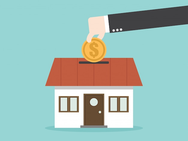 家の財産のためにお金を節約 Premiumベクター