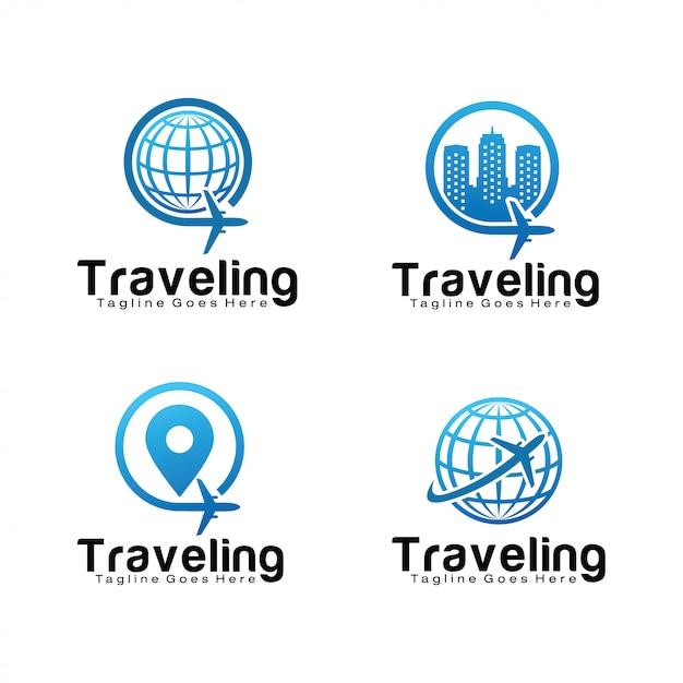 Набор шаблонов логотипа путешествия Premium векторы