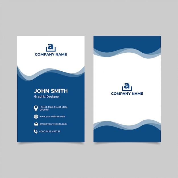 Вертикальный синий дизайн визитной карточки Premium векторы