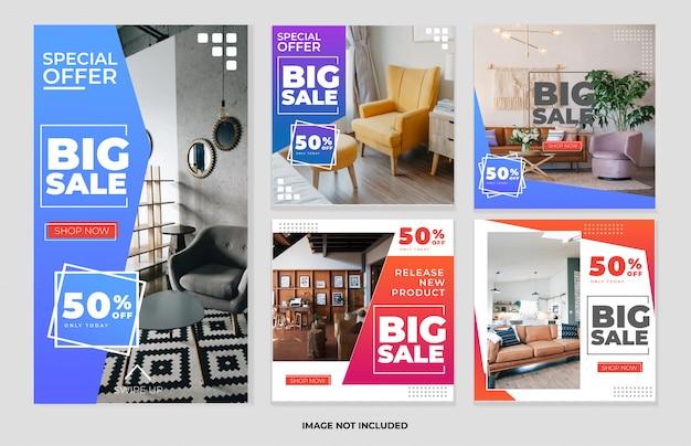 Социальная сеть мебели и коллекция шаблонов рассказов Premium векторы